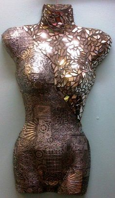 Metal tinfoil, mirror mosaiced torso, done by Crafty Cottage
