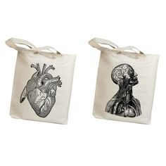 Featuring vintage anatomy drawings, these steampunk tote bags are great to flaunt around town.