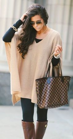 fall outfit inspiratio / nude poncho + black top + skinnies + bag + brown high boots