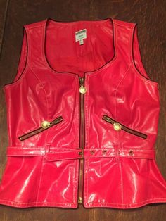 Moschino Jeans Red Faux Leather Vest Womens Vintage 1990s Size 8 Small to Medium  | eBay