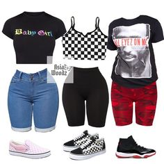 Outfits with converse❤️🖤 (swipe for outfit details) comment your fav look❣️ Outfits Teenager Mädchen, Swag Outfits For Girls, Cute Comfy Outfits, Teenage Girl Outfits, Cute Casual Outfits, Teen Fashion Outfits, Girly Outfits, Dope Outfits, Short Outfits