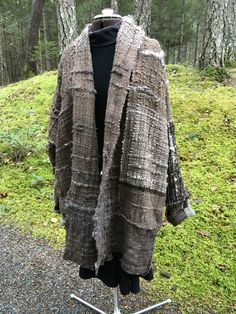 Sweater/Jacket woven by Sara Wool warp and New Zealand wool weft Cowichan Sweater, Sweater Jacket, Hand Weaving, Fur Coat, Salt, Textiles, Wool, Studio, Spring