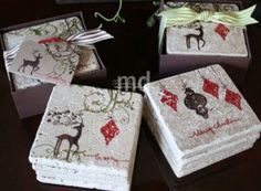 Stampin Up stamped tile coasters, going to figure out how to make these!