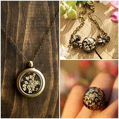 Jewellery gift set, real flower jewellery, floating locket, gift for her, terrarium jewellery, white flower bracelet, real flower ring