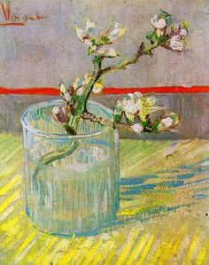 Impressionism Van Gogh | sprig of flowering almond in a glass 1888 van gogh museum amsterdam
