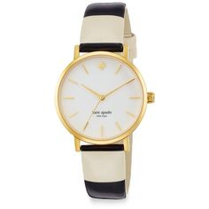 Kate Spade New York Goldtone Striped Strap Watch ($195) ❤ liked on Polyvore featuring jewelry, watches, accessories, relojes, bracelets, kate spade, enamel watches, dial watches, bezel jewelry and polish jewelry
