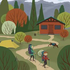 Hiking the Back Country Art Print.  Artwork of exploring of the mountain outdoors, hiking in the back country, staying at alpine cabins.