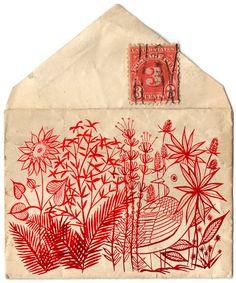Illustrated red bird envelope