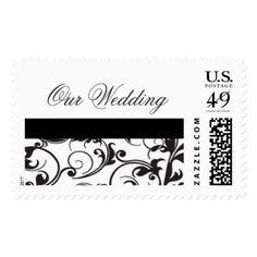 Black and White Damask Wedding Invitation Postage