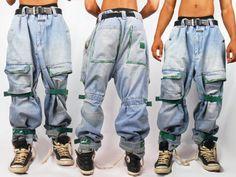 Mens Denim/ Mens Pants/ Vaporwave/ Fubu/ Cyber Ghetto/ Mens Jeans/ Baggy Jeans/ Girbaud Jeans/ 90s Jeans/ 90s Hip Hop Clothing/ Cross Colour