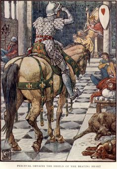 Perceval Obtains the Shield of the Beating Heart by: Walter Crane (Artist) from: King Arthur's Knights: The Tales Retold for Boys and Girls (P. 184) -  1911