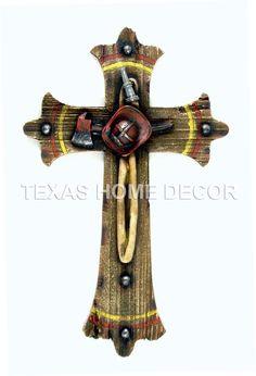Fireman Decorative Wall Cross Helmet Axe Fire Hose Wood Look Studs 12 x 7 ½ in