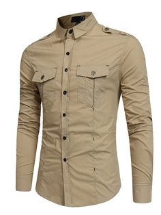 Mens Fashion Military Epaulettes Decoration Slim Solid Color Cotton Long Sleeve Tooling Shirt is hot sale at NewChic, Buy best Mens Fashion Military Epaulettes Decoration Slim Solid Color Cotton Long Sleeve Tooling Shirt here now! Long Sleeve Shirt Dress, Long Sleeve Shirts, Casual Button Down Shirts, Casual Shirts, Cargo Shirts, Men's Shirts, Cotton Shirts, Dress Shirts, T Shirt Sport