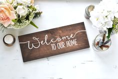 Wood Sign - Welcome To Our Home, rustic signage, modern rustic, home decor, gallery wall art by LoveSupplyCo on Etsy https://www.etsy.com/listing/236382603/wood-sign-welcome-to-our-home-rustic