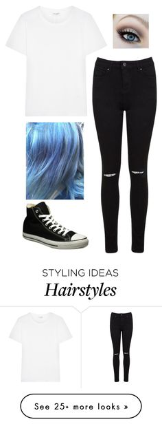 """Blue hair, blue eyes I saw her"" by staybeautifullovey on Polyvore featuring Yves Saint Laurent, Miss Selfridge and Converse"
