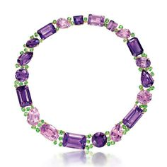 Verdura Byzantine Riviere amethyst necklace in gold, with pink kunzites, tsavorites and garnets.