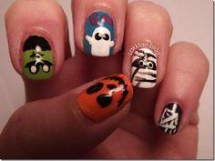 DIY halloween nails: DIY Halloween nail art : Halloween Challenge â?? Halloween character
