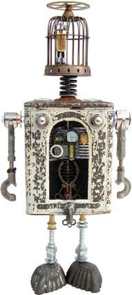 """Name: Anatomical Curiosity  D.O.B.: 2/22/11  Height: 20""""  Principal Components: Glass front candy tin, birdcage, test tube holders, tartlet tins, hydraulic fittings, clock and watch parts, noodle cutters, music box, locket, watch parts tin, valve cores"""
