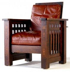 SHOP OF THE CRAFTERS Morris chair inlaid with mixed woods, with leather-covered drop-in spring seat. Craftsman Style Furniture, Mission Style Furniture, Craftsman Interior, Loft Furniture, Arts And Crafts Furniture, Craftsman Style Homes, Amish Furniture, Furniture Styles, Furniture Projects