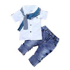 a0ce6b5b9cd3 2018 Summer Kids Clothes Boy Short Sleeve Cotton T-shirt Tops+Jeans+Scarf  3PCS Baby Boys Clothing Set 2-7Y