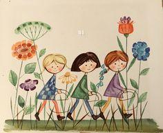 Trzy Małgorzatki. Barbara Baranowska . Ilustracja do książki Heleny Bechlerowej. Ruch 1968 rok