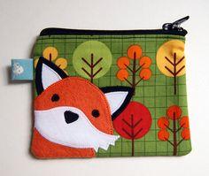 Orange Fox Applique Mini Pouch.