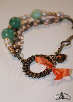 Vintage Inspired Chain Bracelet - Pearl & Jade Beads - Rhinestone and Vintage Brass - OOAK