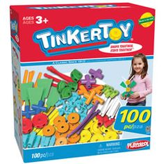 Tinkertoy 100 piece Essentials Value Set and thousands more of the very best toys at Fat Brain Toys. 100 Tinkertoy Essentials are valuable play! Creations by the dozens snap into place. Kids use classic rods, washers and spoo. Preschool Education, Preschool Toys, Preschool Curriculum, Homeschooling, Tinker Toys, Value Set, Essentials, Thing 1, Problem Solving Skills