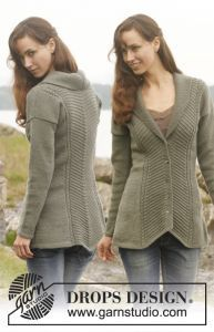 Knitted DROPS fitted jacket with textured pattern and shawl collar. Free knitting pattern. Pattern category: Jackets. DK weight yarn. 1800-2100 yards. Intermediate difficulty level.