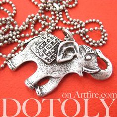 $10 Elephant Happy Cute Animal Pendant Necklace in Silver