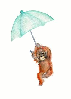 Baby nursery prints, 11 X 14 inch, kids safari wall art, orangutan watercolor, mint baby decor, baby art prints, by Marysflowergarden on Etsy https://www.etsy.com/listing/253480050/baby-nursery-prints-11-x-14-inch-kids