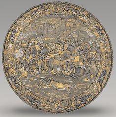 Italian, 16th Century, Shield of Philip II, Milan, c. 1560–1565 embossed, gold- and silver-damascened steel, Patrimonio Nacional, Real Armería, Madrid