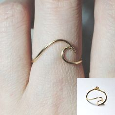 NON ADJUSTABLE Sterling silver Wave Ring/gold by BeadsLearnToRock