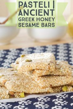 This classic Ancient Greek recipe is for what is know as the world's first energy bar. Made with sesame seeds and honey, give ancient greek pasteli a try Ancient Greek Food, Ancient Greece, Greek Sweets, Greek Dessert Recipes, Vegetarian Greek Recipes, Greece Food, Ancient Recipes, Greek Cooking, Greek Dishes