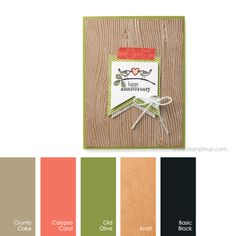 Crumb Cake, Calypso Coral, Old Olive, Kraft, Basic Black #StampinUpColorCombos