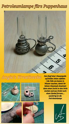 Miniature 'pyrex dishes' - diy idea from restaurant mini jam plastic containers (image with comments underneath).Discover thousands of images about Kleine Petroleumlampe fürs Puppenhaus / dollhouse miniatures / easy Diyuse sphere for sea urchin with Fairy Furniture, Miniature Furniture, Doll Furniture, Dollhouse Furniture, Painting Furniture, Diy Painting, Furniture Redo, Doll House Crafts, Doll Crafts