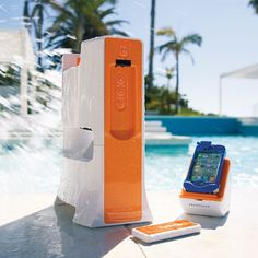Tower Speaker and Transmitter this sleek resistant and splash proof Wireless Outdoor Tower Speaker lets you stream your favorite digital music poolside from up to 150 feet away