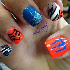 acrylic nail shapes For Fat Fingers Fox Racing Nails, Fox Nails, Camo Nails, Crazy Nail Designs, Cute Nail Art Designs, Monster Nails, Country Nails, Cute Acrylic Nails, Pretty Nails