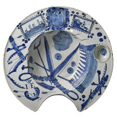 Antique Early English Delftware Pottery Shaving Bowl | From a unique collection of antique and modern bowls at https://www.1stdibs.com/furniture/dining-entertaining/bowls/