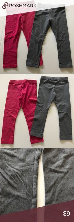 Old Navy leggings Old Navy leggings - one in gray with silver glitter like sparkle & one in pink with gold glitter like sparkle. Gray shows wear around the knees and has a small stain shown in pic Old Navy Bottoms Leggings