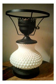 Hobnob milk glass lamp. {reminds me of grandma's house}