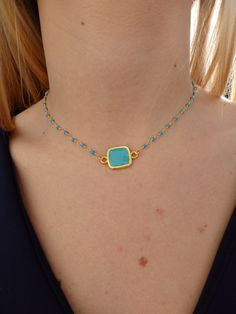 Turquoise Beaded Square Choker Statement Necklace