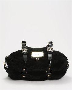 Versace VJC Faux Fur Patent Leather Handbag