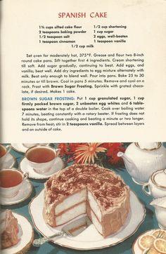 Vintage Recipes, 1950s Cakes, Spanish Cake
