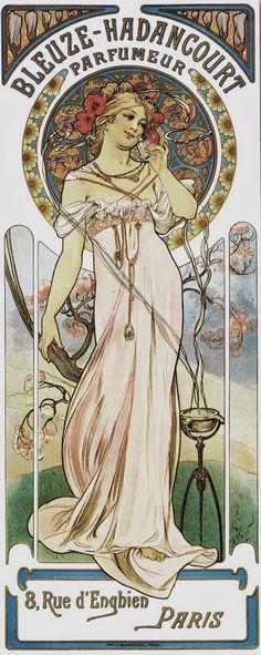 c1900 Poster for 'Bleuze-Hadancourt Parfumeur' 72 x 34.3 cm © Alphonse Mucha Estate-Artists Rights Society (ARS), New York-ADAGP, Paris