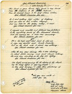 """""""God Blessed America For Me"""" - Original Lyrics for """"This land is Your Land"""" by Woody Guthrie"""