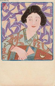 Fujishima Takeji, Geisha and Biwa, 1905 by Gatochy,