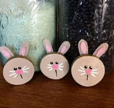 Wood Bunny Magnets Fridge magnets Spring Magnets E Spring Projects, Easter Projects, Spring Crafts, Holiday Crafts, Wood Log Crafts, Wood Slice Crafts, Creative Crafts, Diy And Crafts, Crafts For Kids