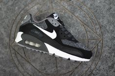 Nike Air Max 90 GS Woven (White, Black Grey)