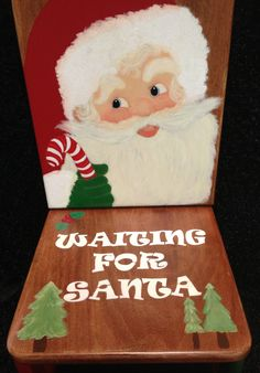 Waiting for Santa Christmas Holiday Decor Chair, Hand-Crafted